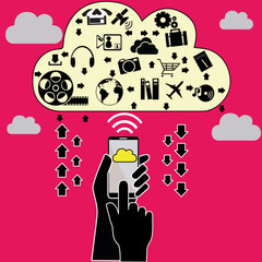 Smart Phone and Cloud Computing - Illustration