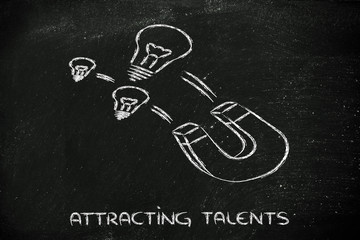 attracting talents, funny magnet and lightbulb design