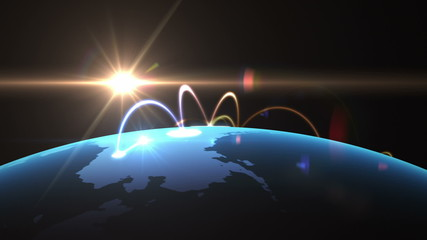 Global network, world map animation. (version with the Sun) loop