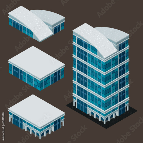 isometric modern building - 65519828