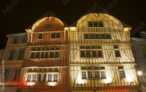 half-timbered tenement house in old town of Troyes, France.