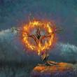 Leinwandbild Motiv God in the burning bush