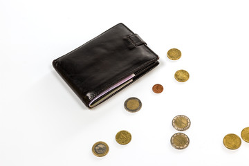 Black leather wallet and money euro