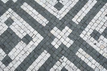 Black and white cobblestone ornamental background texture