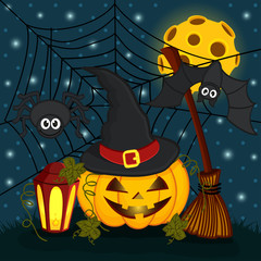 pumpkin in  eve halloween night - vector illustration eps