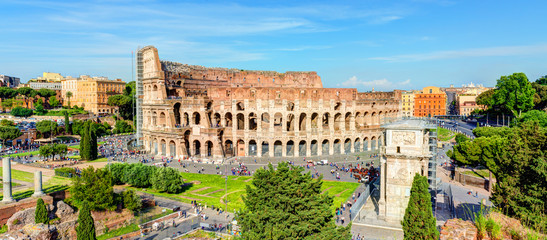 Panoramic view of the Colosseum (Coliseum) in Rome