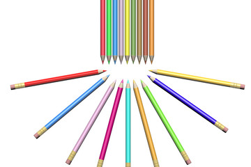 Collection of pens on white background.