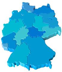 Deutschlandkarte mit blauen Farbtönen