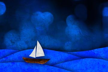 Sailboat, sea illustration