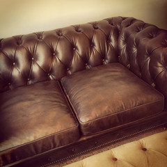 Luxurious brown leather sofa