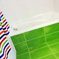 Bright green and white bathroom