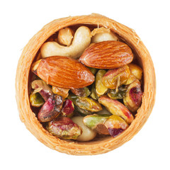 Mix of nuts in a basket