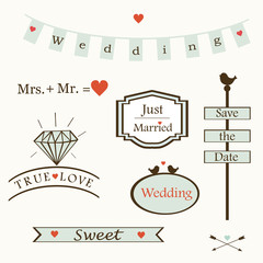 stylish wedding elements, logos, labels, symbols, text, vector