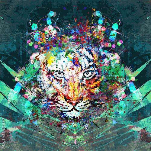 Obraz na Szkle тигр в джунглях