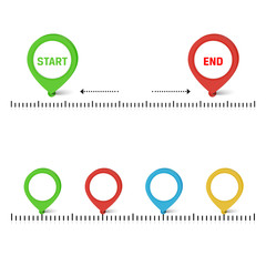 Vector timeline with colors buttons