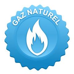gaz naturel sur bouton web denté bleu