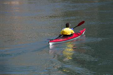 Kayaking on the river Cetina near town Omis, Croatia
