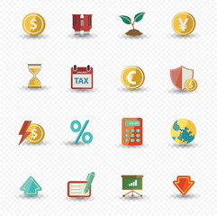 Business and Finance icons,Colorful version,vector