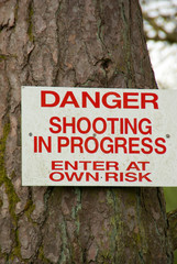 shooting sign