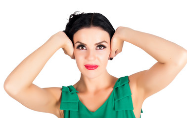 Woman with closed ears
