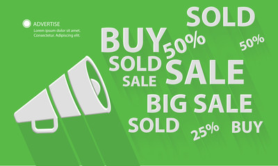 Megaphone marketing,green version,vector