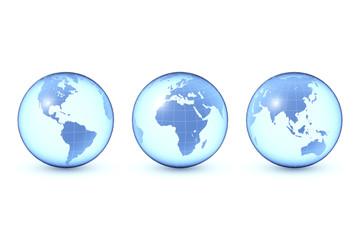 Globus in drei Ansichten