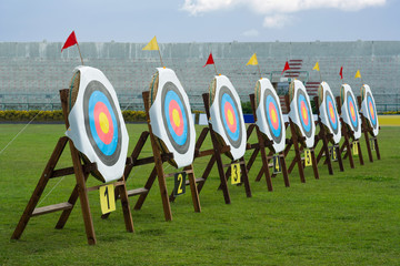 Series of archery clear targets in green field