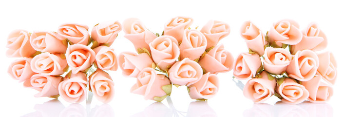 Bouquet of beautiful artificial flowers, isolated on white