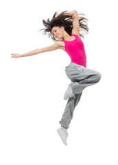 modern dancer style teenage girl jumping dancing