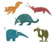 Cartoon funny animals set for design 8