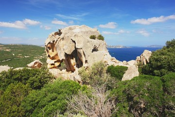 View from Capo d Orso on rocky bear, Sardinia