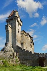 Historic castle on blue sky. Liechtenstein, Lower Austria