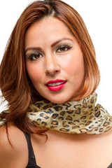 Brunette Female Wearing Scarf