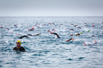 Triathletes at Ironman triathlon competition at Calella