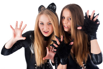 beautiful girls in cat costume