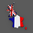 Great Britain and France. map.