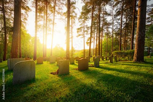 Fotobehang Begraafplaats Graveyard in sunset with warm light
