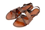 beach leather bronzed  sandals