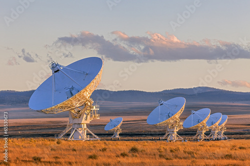 canvas print picture Very Large Array Satellite Dishes at Sunset in New Mexico, USA