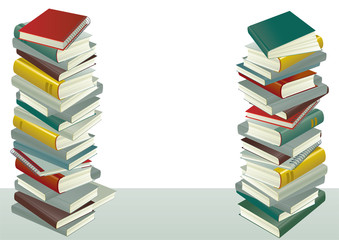 Vector of books stack  on the gray table