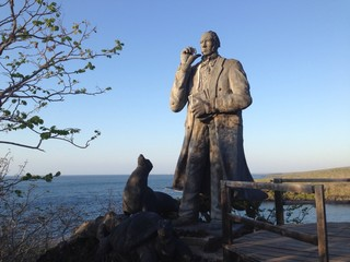 darwin statue at san cristobal galapagos islands