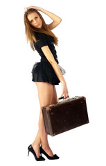 Pretty girl with suitcase