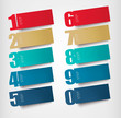Origami paper banners with numbers. Vector.