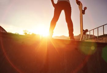 skateboarding woman sunrise skatepark
