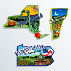 New York, Vermont and Pennsylvania scenic vector illustrations