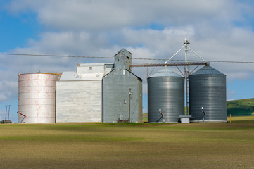 Group of grain storage silos