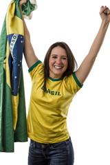Female Brazilian fan celebrating