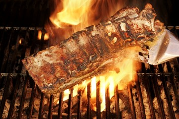 Grilled Pork Ribs on the BBQ Grate, XXXL