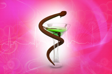 Medical symbol - snake with glass