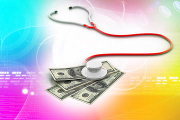 Financial concept - Stethoscope testing dollar
